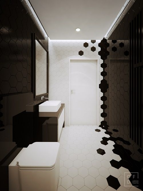 amenajare baie moderna in alb si negru