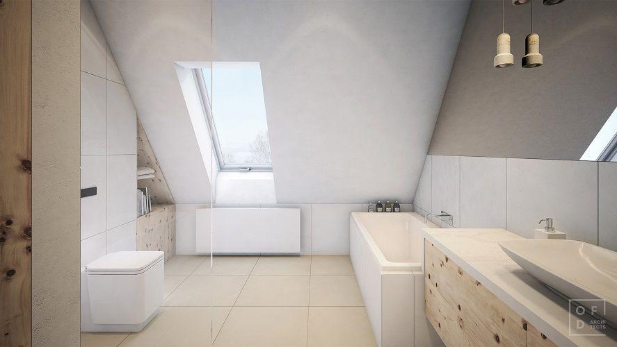 baie in mansarda moderna alba deschisa vana lavoar