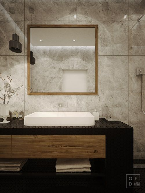 baie moderna mobilier chiuveta mare alba oglinda mare