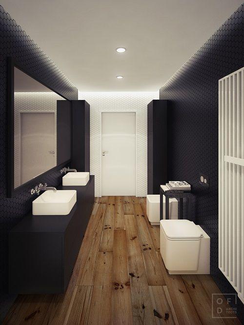 baie moderna mobilier negru doua chiuvete albe sticla mare