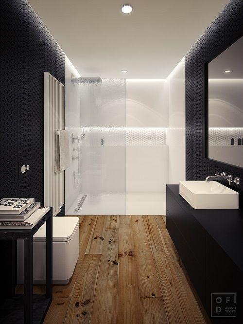 perete de sticla in baie moderna cu podele