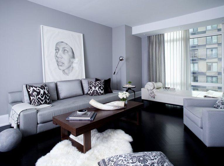 Idee living modern de culoare gri cu parchet negru