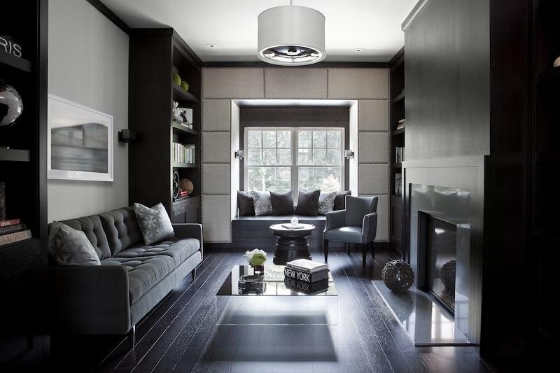Living modern cu mobilier si podele negre