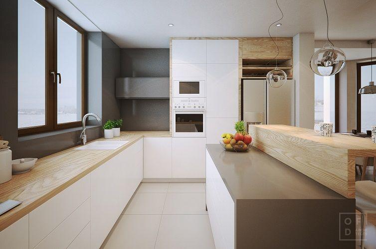 Amenajare-bucatarie-mobila-alba-lucuioasa-moderna-blat-de-lemn
