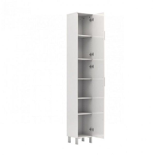 Cabinet inalt baie alb cu 2 usi pal melaminat cu 5 rafturi