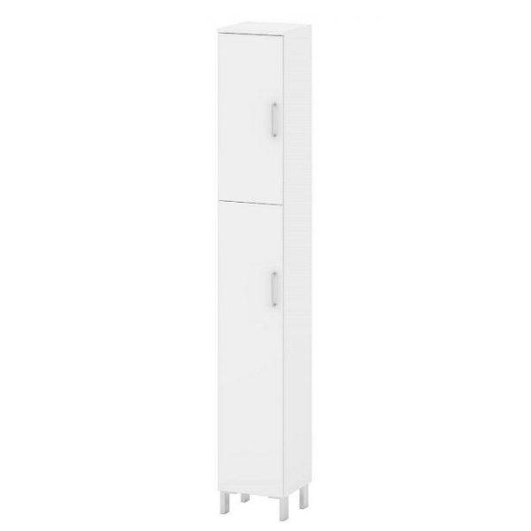Cabinet inalt baie alb cu 2 usi pal melaminat si picioare din metal