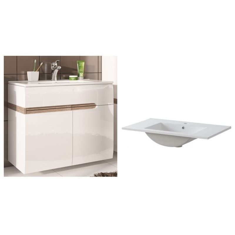 Mobilier baie cu lavoar modern alb lucios design for Mobilier moderne design