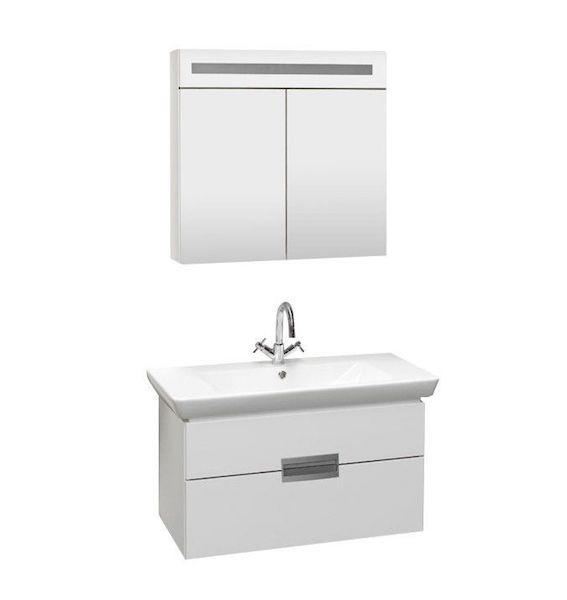 mobilier baie suspendat alb lavoar dulap baie cu oglinda led