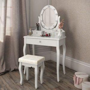 Masa de toaleta cu oglinda lumini set masuta alba cosmetica scaun tapitat sea314 - ziua