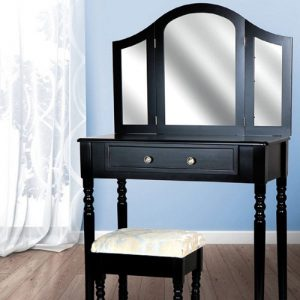 Masa de toaleta cu oglinda lumini set masuta neagra cosmetica scaun tapitat sen14