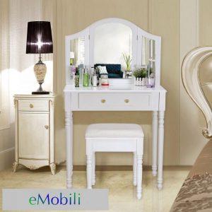Masa de toaleta cu oglinda set masuta alba cosmetica machiaj oglinda sea109