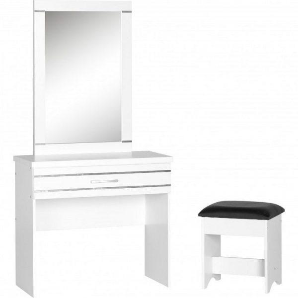 Masa de toaleta cu oglinda set masuta alba cosmetica scaun tapitat sea125