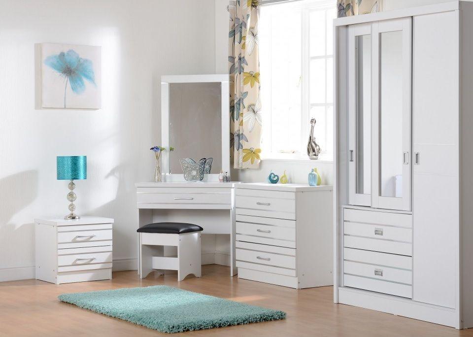 Masa de toaleta cu oglinda set masuta alba cosmetica scaun tapitat sea125 in dormitor