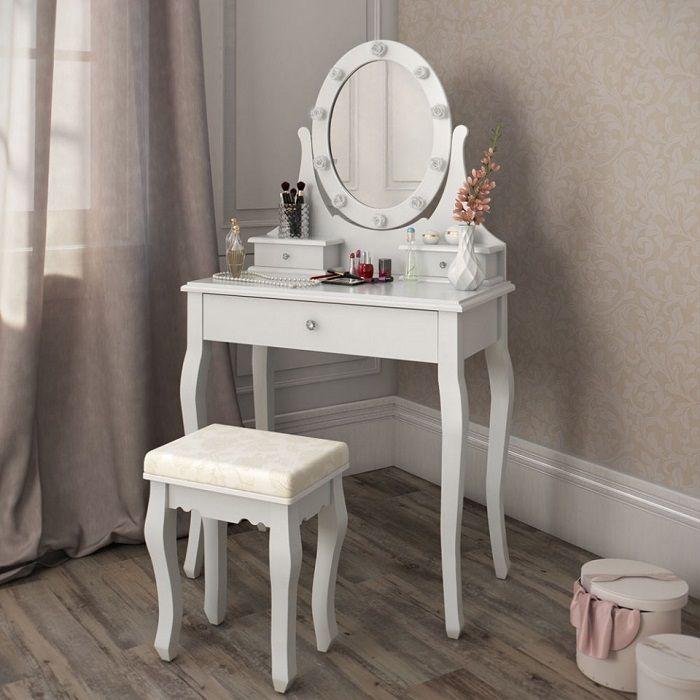 Masa de toaleta set masa alba cosmetica machiaj oglinda masuta