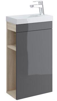 Set dulap de baie gri Cersanit Smart + lavoar Como 40