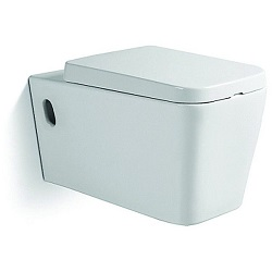 Vas de toaleta ceramic suspendat Dalet Square, Cu capac, 56 x 36 x 34 cm