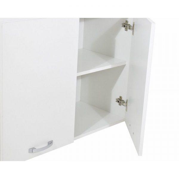 Dulap baie superior alb din pal melaminat, deschis