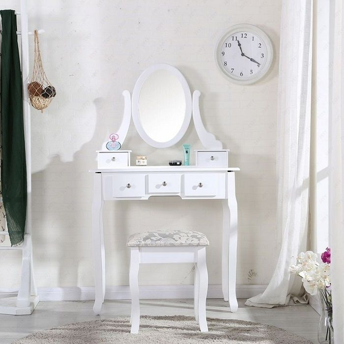 Masa de toaleta cu oglinda, Alba, Vanity SEA101