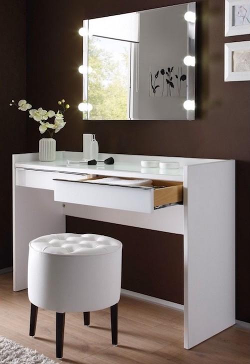 masa de toaleta cu lumini oglinda cu led-uri set masa alba toaleta cu lumini