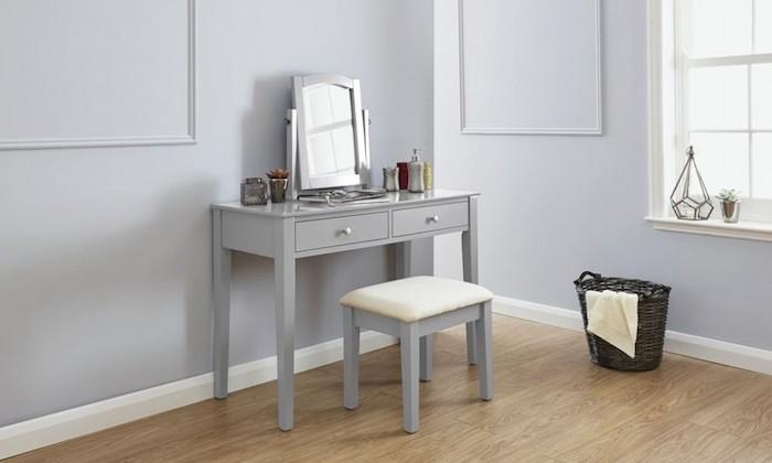 masa-gri-toaleta-cosmetica-machiaj-oglinda-masuta-scaun