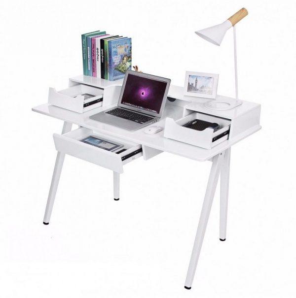 masa toaleta alba masa birou cosmetica machiaj masuta vanity birou modern detaliu laptop