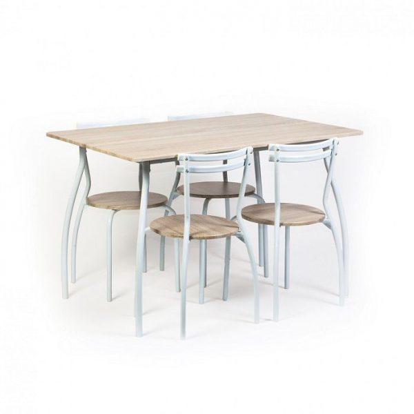 Mobila de bucatarie, set masa bucatarie cu 4 scaune din MDF, Metal si Textil