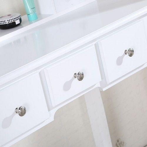 Masa de toaleta cu oglinda set masuta alba detalii