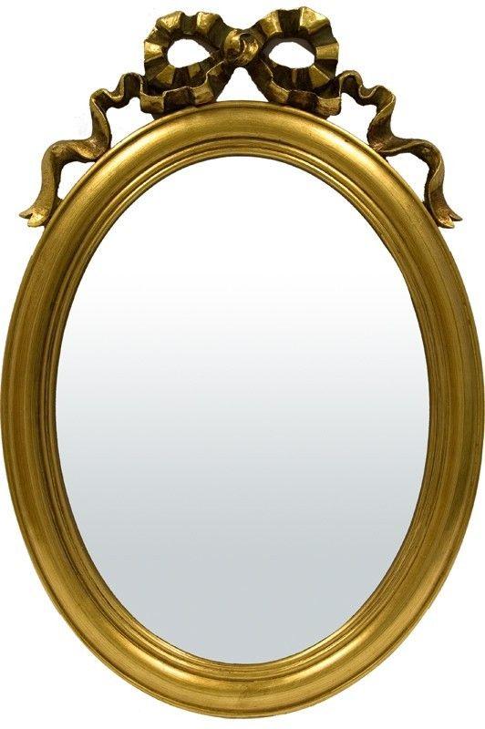 Oglinda ovala cu rama aurie, detaliu fundita