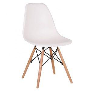 scaun living alb design ergonomic din plastic abs si lemn