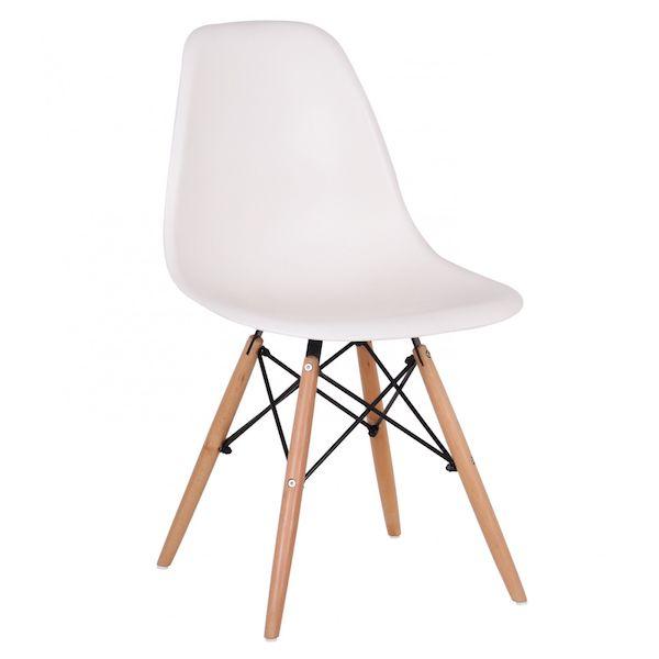 Scaun Living / Bucatarie Plastic, Alb, Picioare din lemn