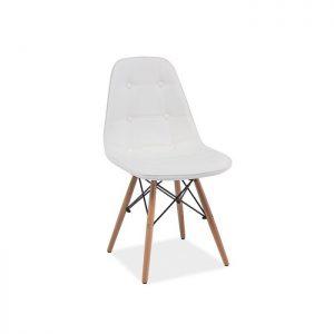 scaun living alb design ergonomic tapitat cu piele ecologica si picoare lemn