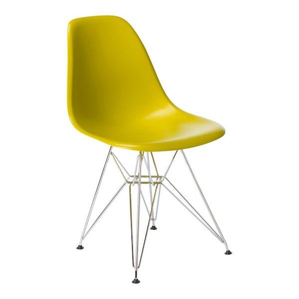 scaun living bucatarie plastic picioare din metal ergonomic galben