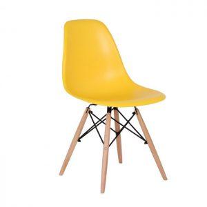 Scaun galben modern din plastic cadru fier picioare din lemn fara brate
