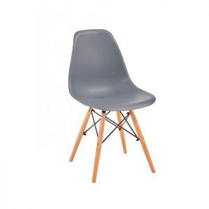 Scaun gri modern din plastic cadru fier picioare din lemn fara brate
