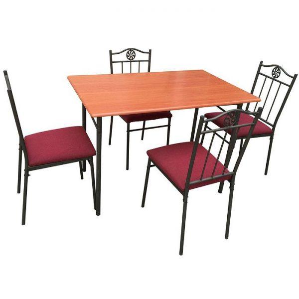 Set masa bucatarie din MDF cu 4 scaune cu tapiterie textila