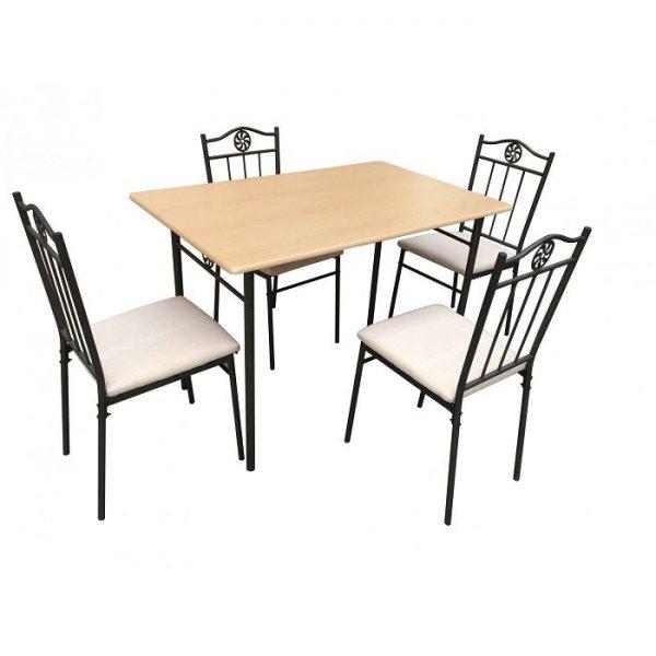 Set masa bucatarie din MDF, natur cu 4 scaune tapitate