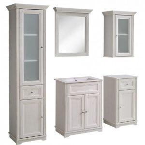 Set mobila baie stil clasic alb complet oglinda dulap suspendat dulap inalt baie