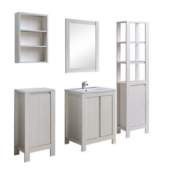 Set mobilier baie stil clasic alb, dulap masca lavoar, oglinda cu rama, dulap inferior si superior