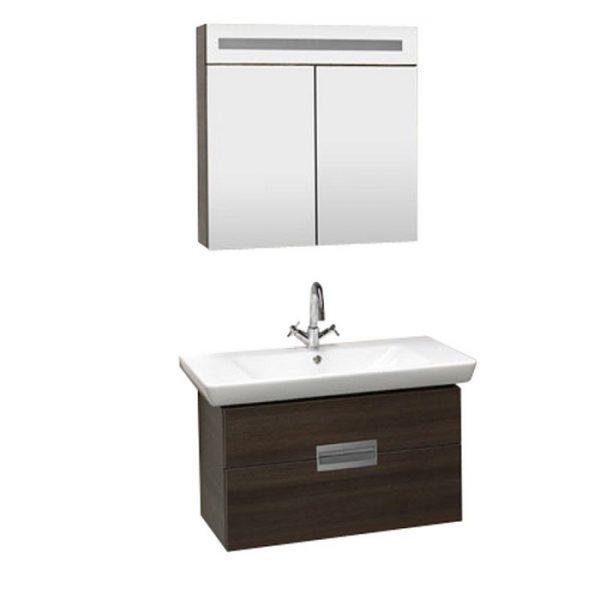 Set mobilier baie suspendat, 70 cm cu iluminare, priza, intrerupator si lavoar