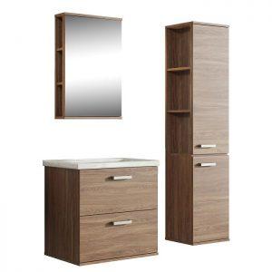 Set mobilier baie suspendat, dulap masca lavoar, dulap cu oglinda si dulap inalt