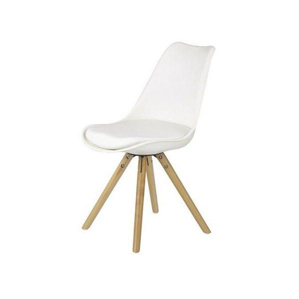 Scaun alb modern din piele cu picioare din lemn