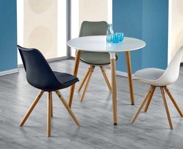 Scaun alb modern din piele cu picioare din lemn scaun pentru lsufragerie