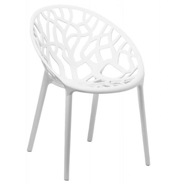 Scaun alb modern din plastic model coral pentru living