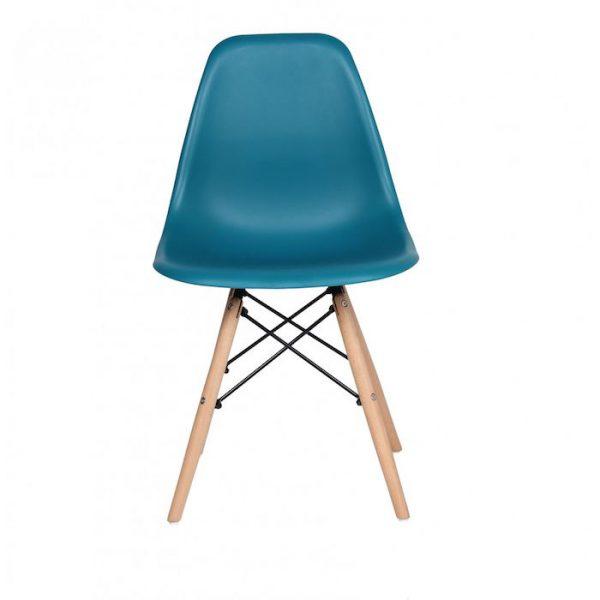 Scaun albastru modern din plastic cadru fier picioare din lemn fara brate