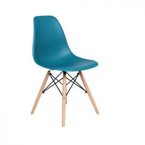 Scaun albastru modern din plastic cadru fier picioare din lemn fara brate, profil