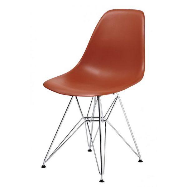 Scaun bucatarie orange modern din plastic cadru metal fara brate