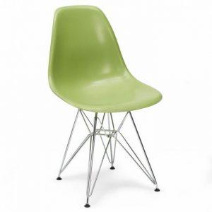 Scaun bucatarie verde modern din plastic cadru metal fara brate