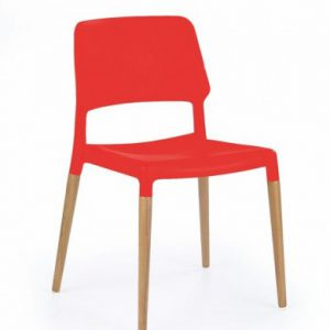 Scaun din lemn si plastic ABS K163 rosu