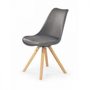Scaun gri modern din piele cu picioare din lemn fara brate