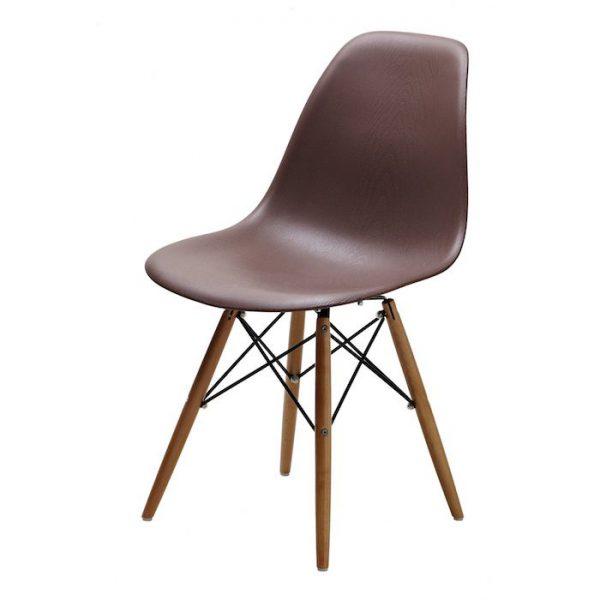 Scaun maro modern din plastic cadru fier picioare din lemn fara brate